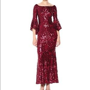 Red sequin prom gown off the shoulder bell sleeve